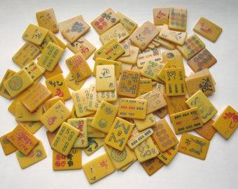 99 pcs. vintage tested bakelite mah jong tile tops slices slivers cabochons