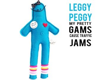 "The Mefits Leggy Peggy Doll & Storybook ""My gams cause traffic jams"""