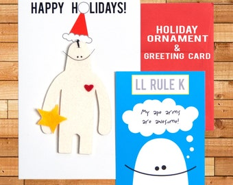 "Holiday Ornament and Christmas Card, LL Rule K, ""Long Limbs Rule, K?"" 5"" x 8"""