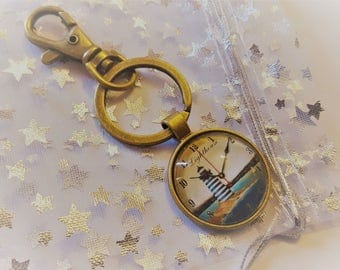 Beautiful Antique Bronze plated Lighthouse Bag Charm Key Charm Key Ring