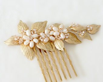 Gold Leaf and Champagne Freshwater Pearl Floral Hair Comb