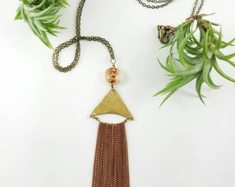 COPPER TASSEL - Hammered raw brass triangle with copper chain fringe Super Boho Style new years party jewelry