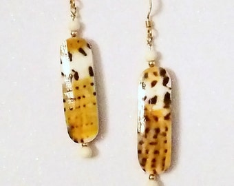 E1105 Conus Capitaneus Shell & Bone Earrings