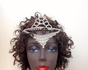 Enchantress-Vintage Couture Rhinestone Tiara Majestic Headpiece- CRBoggs Designs Original Design