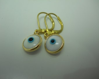 Evil Eye Earrings Glass Talisman Jewelry White and Blue Double Sided with Golden Brass Ear Wires Short Dangle Drop Traditional