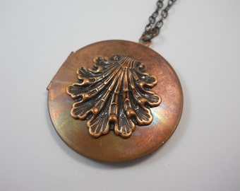 Large Vintage Copper Locket with Dark Copper Art Deco Shell Charm Keepsake Metal Locket Women's Necklace You Choose Chain Length Dark Metal