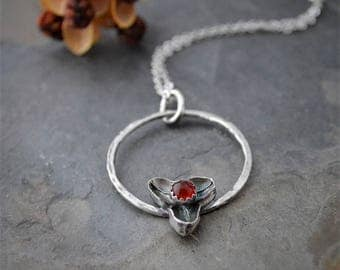 Bittersweet Hoop Necklace in Sterling Silver with Red Carnelian Gemstone