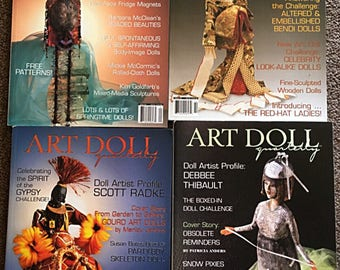 4 Rare Out-of-Print Issues of ART DOLL Quarterly Magazine // 2005  Winter - Autumn -Summer - Spring // Craft Supplies Doll Making Supply