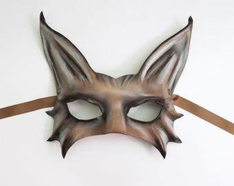 Leather Cat or Animal Creature  Mask middle sized half face mask grey brown black very lightweight and easy to wear fox wolf