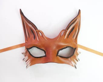Fox Leather Mask  a smaller and very light version of my bigger Fox masks animal costume art