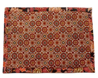 Reversible Floral Placemat, Fabric Dinner Mat, Maroon, Green, Black Reusable Placemat, Single Mat, Table Decor, Table Settings, Cloth Mat