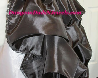 DDNJ Choose Color Fabrics Renaissance Silky Taffeta Bustle Skirt Plus Custom Made ANY Size Pirate Nobility Gypsy Wench Vampire Goth Costume