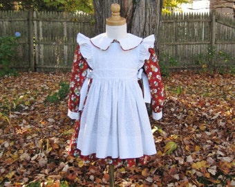 Toddler girl Christmas dress, long sleeves, red print, white pinafore, Size 2T, Ready to ship, white apron, holiday, white collar & cuffs