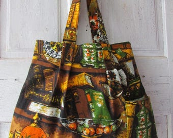 Hand made fabric bag shoulder bag vintage fabric tote with side pockets one of a kind perfect for book lover