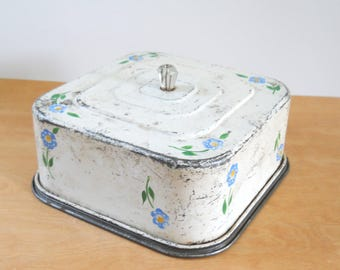 Vintage Square Cake Saver • Rustic White with Blue Flowers • Charming 1930s - 40s Cake Saver