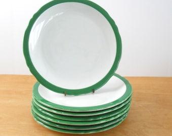 Vintage Restaurant Ware Plates • Shenango China Anchor Hocking • Green Trim Dinner Plates