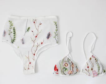 Embroidered floral lingerie set, triangle bra, white bralette, high waist panties, floral print, brazilian panty, bridal lingerie, flowers