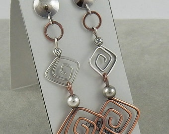 15% OFF Unique Mixed Metal Post Earrings Silver and Copper Long Earrings