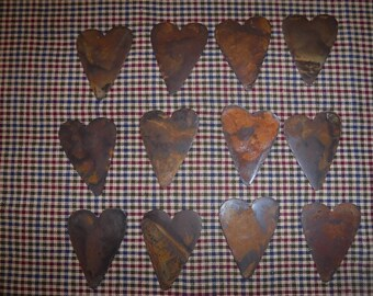 Lot of 12 Rusty Primitive Hearts 2 inches each
