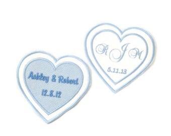Wedding Dress Label.Wedding Dress Labels.Wedding Dress Patch.Something Blue Wedding Patch.Double Heart Dress Label.