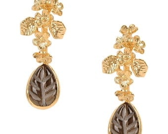 Leaf Carved Quartz on a branch of flowers Earrings