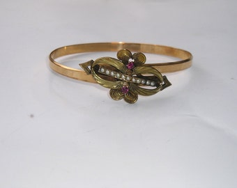 Victorian Gold Filled Bypass Ruby Seed Pearl Bracelet
