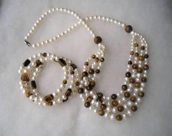 Lovely Genuine Pearl & Tigers Eye Necklace Bracelet Sterling 925 Set WW