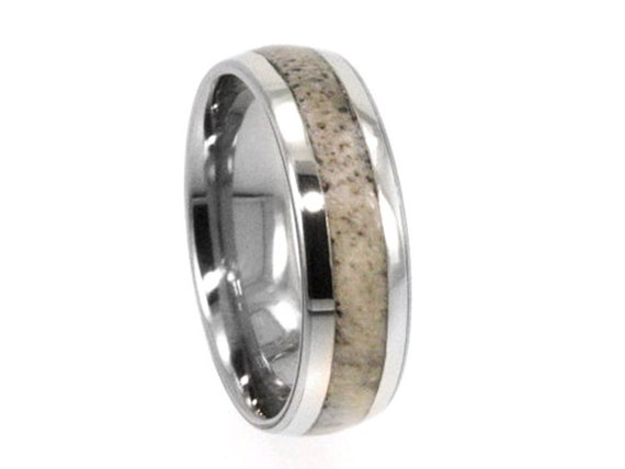 Deer Antler Ring, 14k White Gold Wedding Band With Titanium Sleeve, Jewelry Gift For Hunters