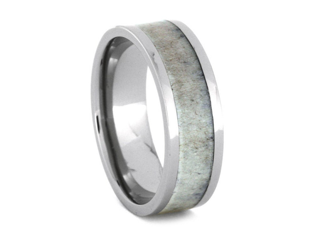 deer antler wedding band titanium ring for hunters
