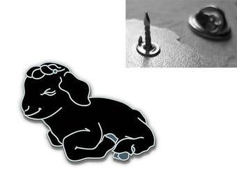 Mini Black - Four Day Old Kid Sleeping - Goat Kid Go Vegan - Hard Enamel Pin - Badge - Brooch - Lapel Pin - Hat Pin - Backpack Pin - Bag Pin