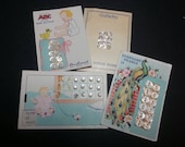 Vtg ocean pearl genuine pearl baby buttons complete on cards lot