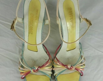 Vintage 80s platform ankle strap sandals by Dantonio size 8.5 narrow 3.5 inch high