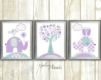 Turquoise purple Kids wall art baby nursery decor nursery art tree owl elephant bird girls room Set of 3 Prints - Tree Of Love