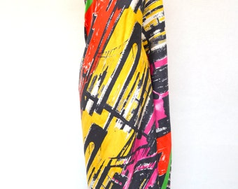 1980's Extra Large Scarf Abstract Art Scarf Large Shawl Wrap Large Square Scarf Oversized Scarf