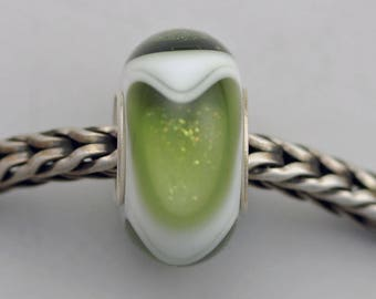 Small Unique Forest Green Dichroic Dillo - Artisan Glass Charm Bracelet Bead - (AUG-52)