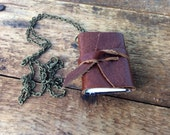 """Brown Leather Mini Book necklace by Binding Bee / Nickle Free 18"""" chain/ Gift box"""