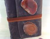 Crystal Journal / Extra large leather Agate Slice Leather Journal with Handmade Paper by Binding Bee