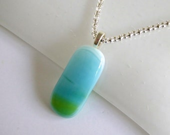 Fused Glass Pendant in Blues and Greens by BPRDesigns