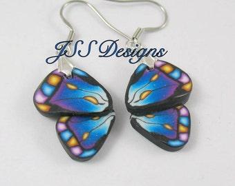 Butterfly Wing Earrings Polymer Clay Fimo Blue Purple Dangle