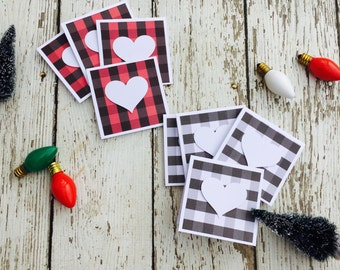 Buffalo Plaid Mini Heart Cards