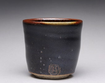handmade pottery cup, ceramic teacup, yunomi with black tenmoku and green celadon glazes
