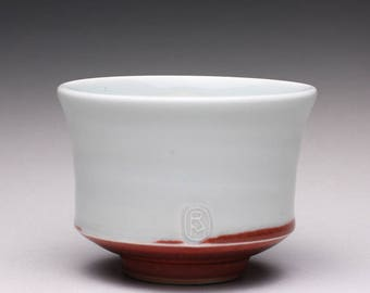 handmade porcelain tea bowl, ceramic chawan, pottery tea cup with turquoise celadon and bright red glazes