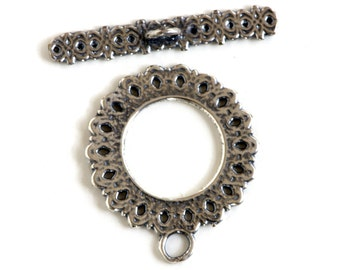 Diamond Silver Plated Toggle Clasp 43513 (1) Silver Jewelry Clasp, Round Toggle Clasp, Necklace Toggle Clasp, Bracelet Toggle Clasp