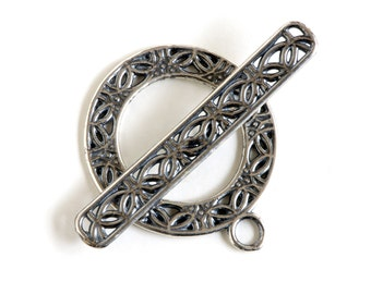 Open Silver Plated Toggle Clasp 43514 (1) Silver Jewelry Clasp, Round Toggle Clasp, Necklace Toggle Clasp, Bracelet Toggle Clasp