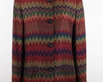 MISSONI Italian VINTAGE Multicolor COLLARLESS blazer jacket size 40 it rt