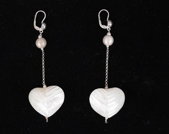 VINTAGE Sterling Silver 925 and MOTHER OF pearl heart dangle earrings