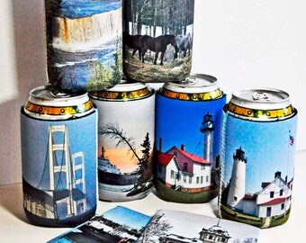 150 custom can cozies large lot photo kozies cozy insulators standard collapsible fits 12oz cans weddings parties conventions logo wording