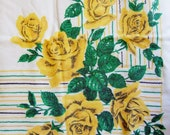 Vintage Square Tablecloth with Yellow Roses - 1950s Pretty Floral Tablecloth in Soft White Cotton
