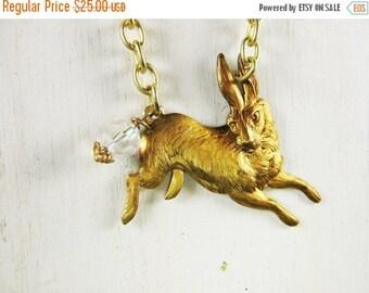 ON SALE Rabbit Necklace, Hare Necklace, Antique Brass, Long Necklace, Rabbit Pendant, Bunny Pendant, Bunny Rabbit, Handmade