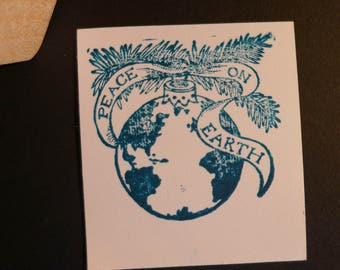 Vintage Peace on Earth Rubber Stamp / Christmas / Globe Ornament